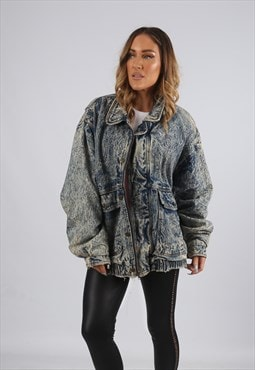 Vintage Denim Bomber Jacket Oversized Acid Wash UK 18 (X5Z)