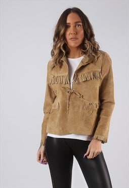 Suede Leather Fringe Tassel Jacket Short UK 10 (GWCH)