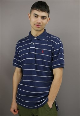 Vintage Striped Ralph Lauren Polo Shirt Navy Blue with Logo