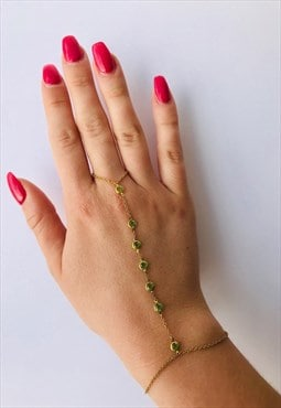 Vintage Gold Chain Finger Bracelet with Green Crystals