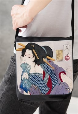 Japanese Ukiyo-e Reporter Bag Cross Body Geisha Tattoo Art