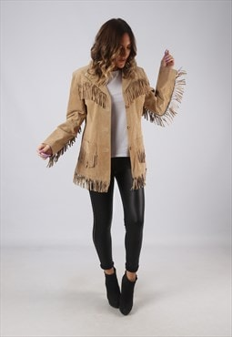 Suede Leather Fringe Tassel Jacket Vintage UK 10 (CWCO)