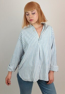 Vintage 80's Striped Oversized Tunic Blouse / Shirt/ Top