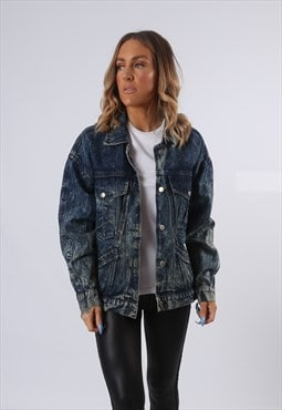 Denim Jacket ACID WASH Oversized Fitted UK 16  (E54D)