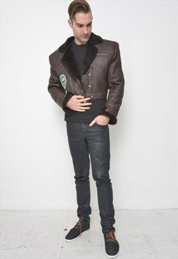 Vintage Mens Sheepskin Leather Jacket