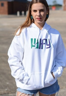 Oversized hoodie in white with graphic logo.