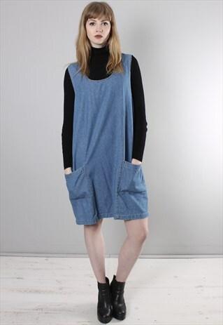 VINTAGE 90S BLUE DENIM PINAFORE DRESS