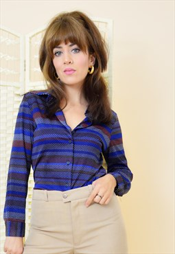 70's vintage boho striped dotted shirt in blue
