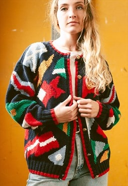 Vintage 70s Multicolour Hand Knit Cardigan