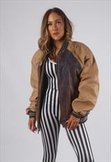 Vintage VARSITY Leather Bomber Jacket Oversized 14 - 16 (72J