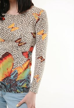 90s Vintage Kenzo Jungle Butterflies Top 525