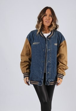 Denim Bomber Jacket Lined Oversized Varsity UK 18 (BJ3R)