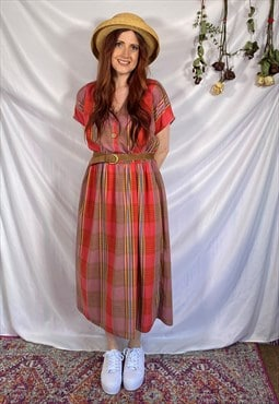vintage 90s dress check midi dress 90s red check picnic dres
