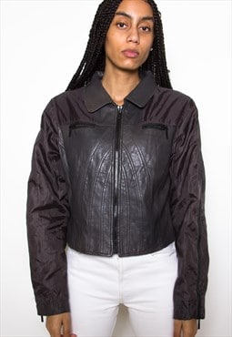 Vintage 80s Grey Crop Leather Jacket ID:1585