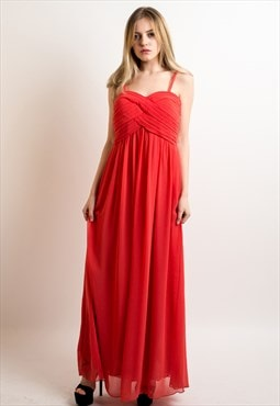 Pleated Bust & Sweetheart Neckline Maxi Dress (Coral) CY