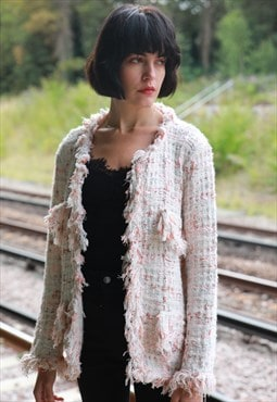 White pink color tweed effect knitted cardigan Jacket