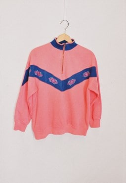 Vintage 90s Pink Embroidered Collared Sweater