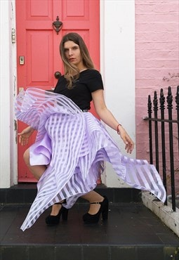 Lilac Stripes Organza Skirt with Elastic Band