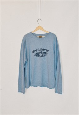 Vintage 90s Timberland Blue/Grey Print Long Sleeve Top