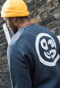 Raglan Sweatshirts in Speckled Black Organic Logo Backprint