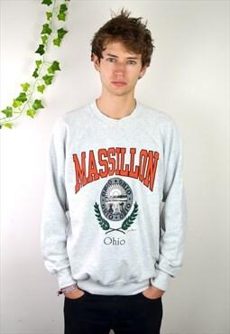 90's Vintage Grey Printed  Massillon USA Sweatshirt