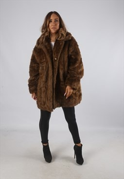 Vintage Faux Fur Coat Jacket Short Mid UK 18 XXL  (9BP)