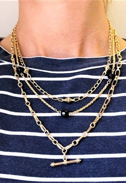 1990s Vintage Gold Plated Necklace Set