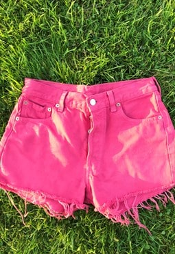 Vintage 80's 501 Button Fly Levi Pink Shorts