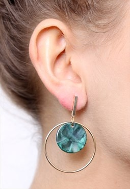Green Gold Round Statement Geometric Drop Hoop Earrings
