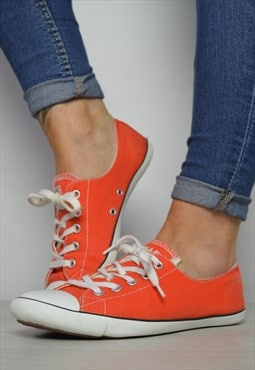 Vintage 90s Converse Orange Dainty Ox Shoes Grunge Retro