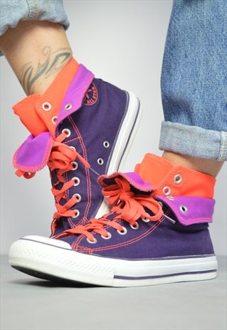 90S CONVERSE PURPLE FLUORESCENT ORANGE DOUBLE TONGUE HI-TOPS
