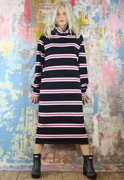 Oversized Maxi Dress in allsorts stripes with cowl neck