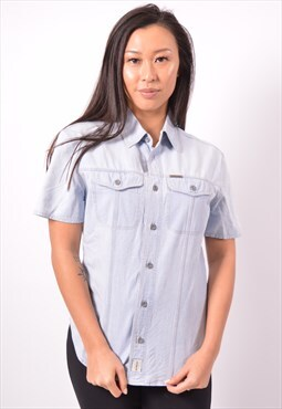 Vintage Calvin Klein Denim Shirt Short Sleeves Blue