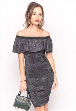 Bodycon Metallic Frill Bardot Bandage Dress in Sliver Black