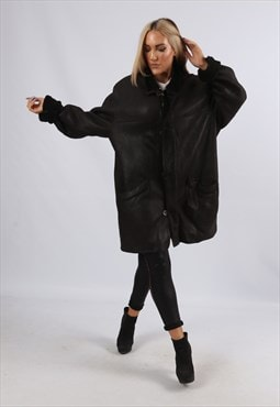 Vintage Sheepskin Leather Shearling Coat Mid UK 18 XXL (EK1X