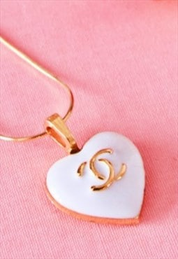 CC White Goddess Heart Necklace 18 Karat Plated