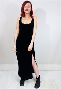 Vintage 90's Black Velvet Crossover Strap Kick Split Dress