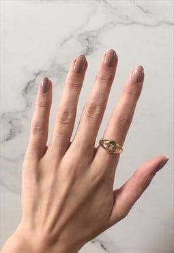 Anna: Dainty Gold Baguette Cut Diamante Signet Ring