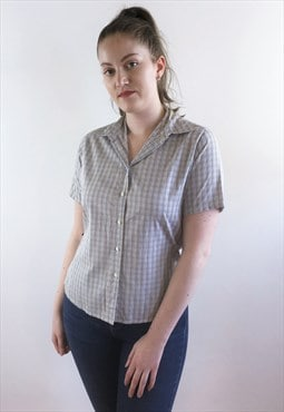 Womens Barbour shirt blue checked patterned short sleeve top