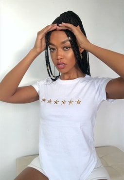 Regular Fit Leopard Print Star T-Shirt in White