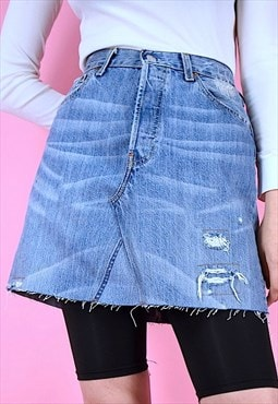 Vintage 90s Levi's Denim Mini Skirt Blue