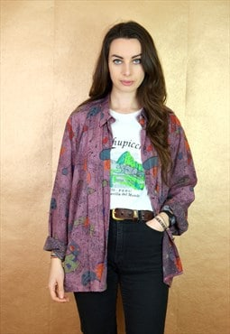 80s Vintage Purple Abstract Long Sleeve Shirt