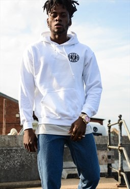 YIFY hoodie in white with stamp logo.
