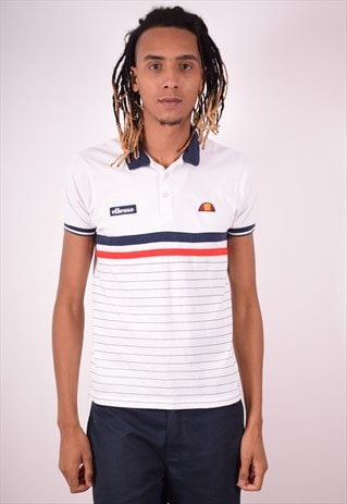 ELLESSE MENS VINTAGE POLO SHIRT SMALL WHITE 90S