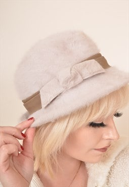 Vintage Fluffy Soft Wool Fedora Hat Cream