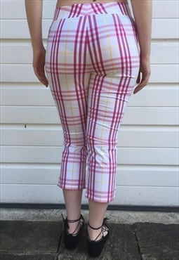 Womens Burberry trousers white pink nova check 3/4 pants