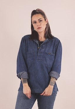 Vintage Blue Denim Lee Pullover Smock Shirt /A6022