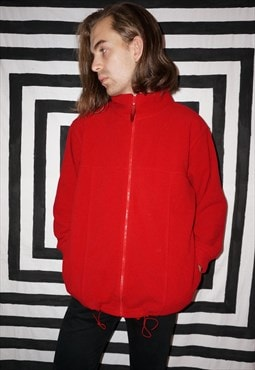 Vintage 90s Red Zip-up Fleece Cardigan