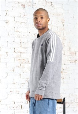 Vintage Adidas Embroidered Logo Sweatshirt Grey