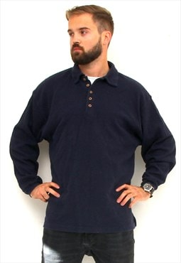 Button Up Minimalist Blue Pullover 90's Knitted Men Jumper